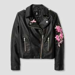 Girls' Embroidered Moto Jacket - Art Class™ Black