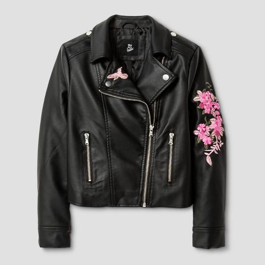 Girlsu0026#39; Embroidered Moto Jacket - Art Class Black  Target