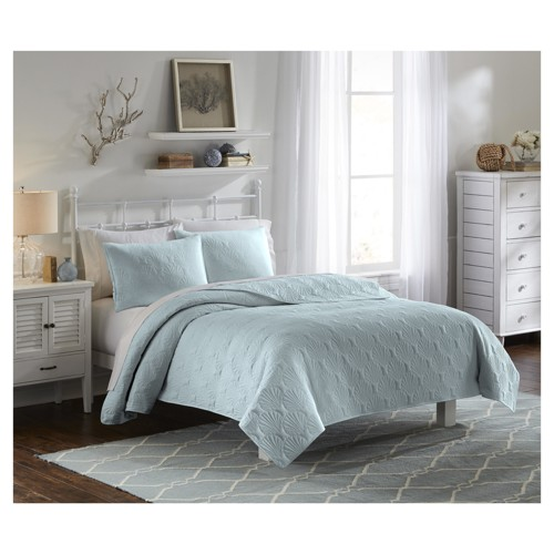 Solid & Quilted Blue Atlantis Bedspread Set (Twin) 3pc - Vue