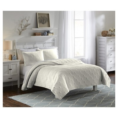 Solid & Quilted Ivory Atlantis Bedspread Set (Full/Queen)3pc - Vue®