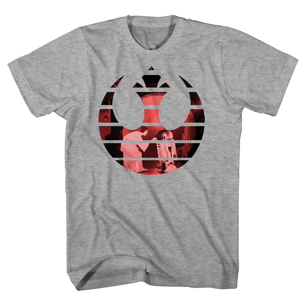 Mens Star Wars Rebel Logo with Princess Leia T-Shirt - Heather Gray L