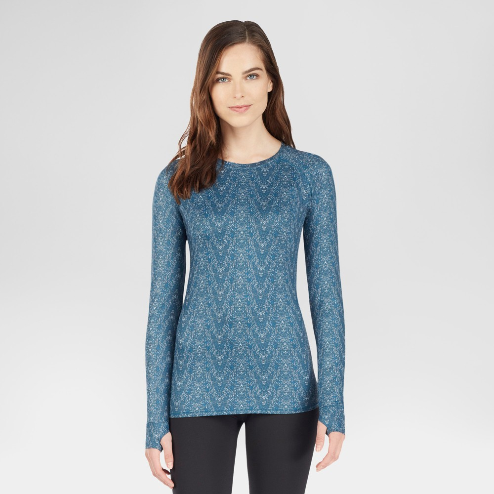 Warm Essentials by Cuddl Duds Womens Active Crew Neck Thermal Top - Teal Zig Zag XL