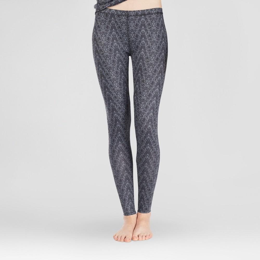 Warm Essentials by Cuddl Duds Womens Active Thermal Pants - Black Zig Zag L