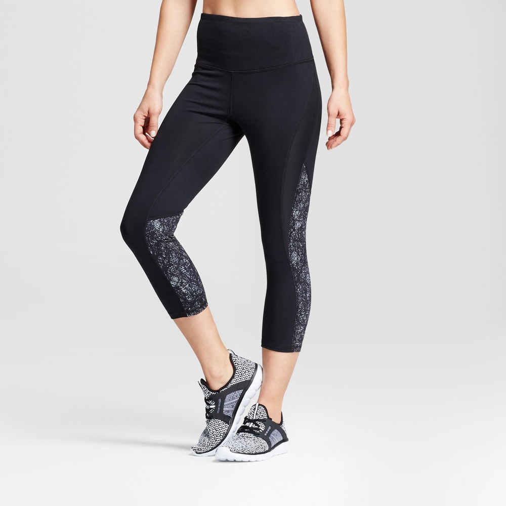 Womens Freedom High-Waist Printed Leggings - C9 Champion Black/Gray Crosshatched Print M
