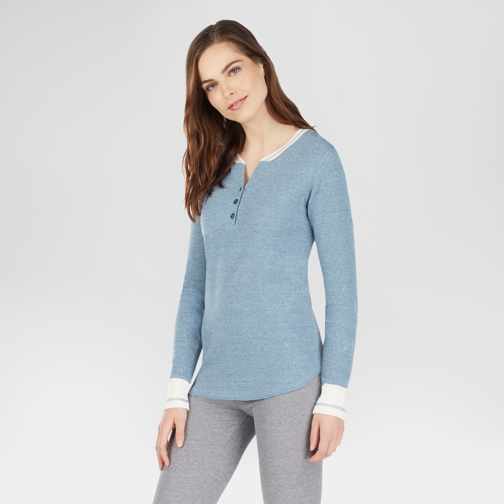 Warm Essentials by Cuddl Duds Womens Everyday Waffle Henley Thermal Top - Classic Teal M
