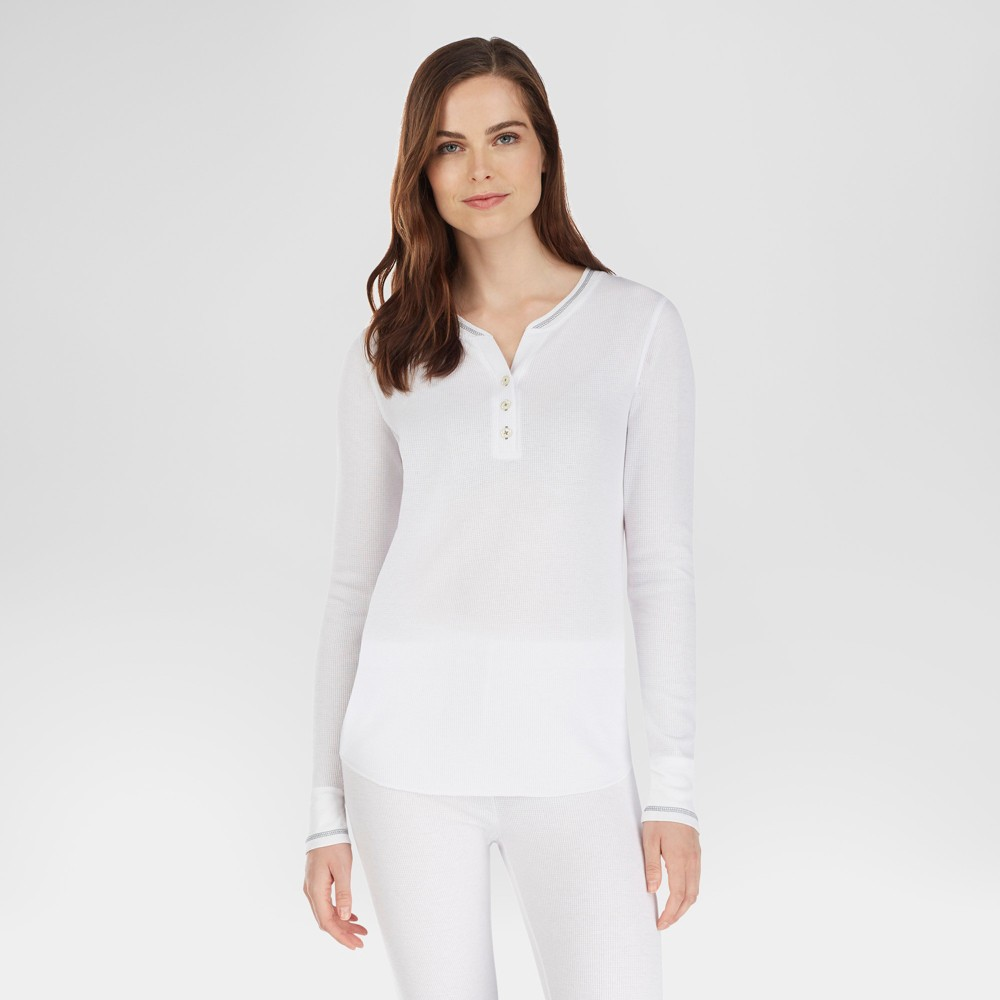 Warm Essentials by Cuddl Duds Womens Everyday Waffle Henley Thermal Top - White L