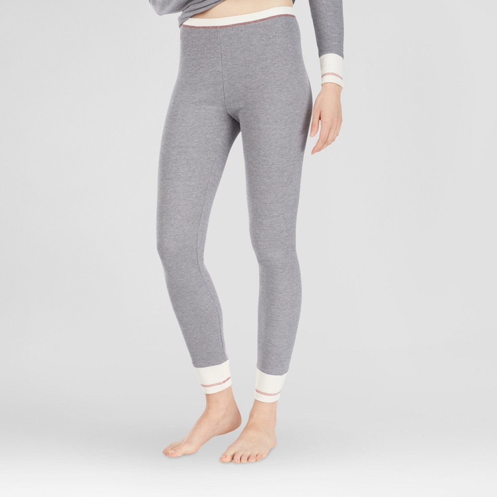 Warm Essentials by Cuddl Duds Womens Everyday Waffle Thermal Pants - Gray Heather M