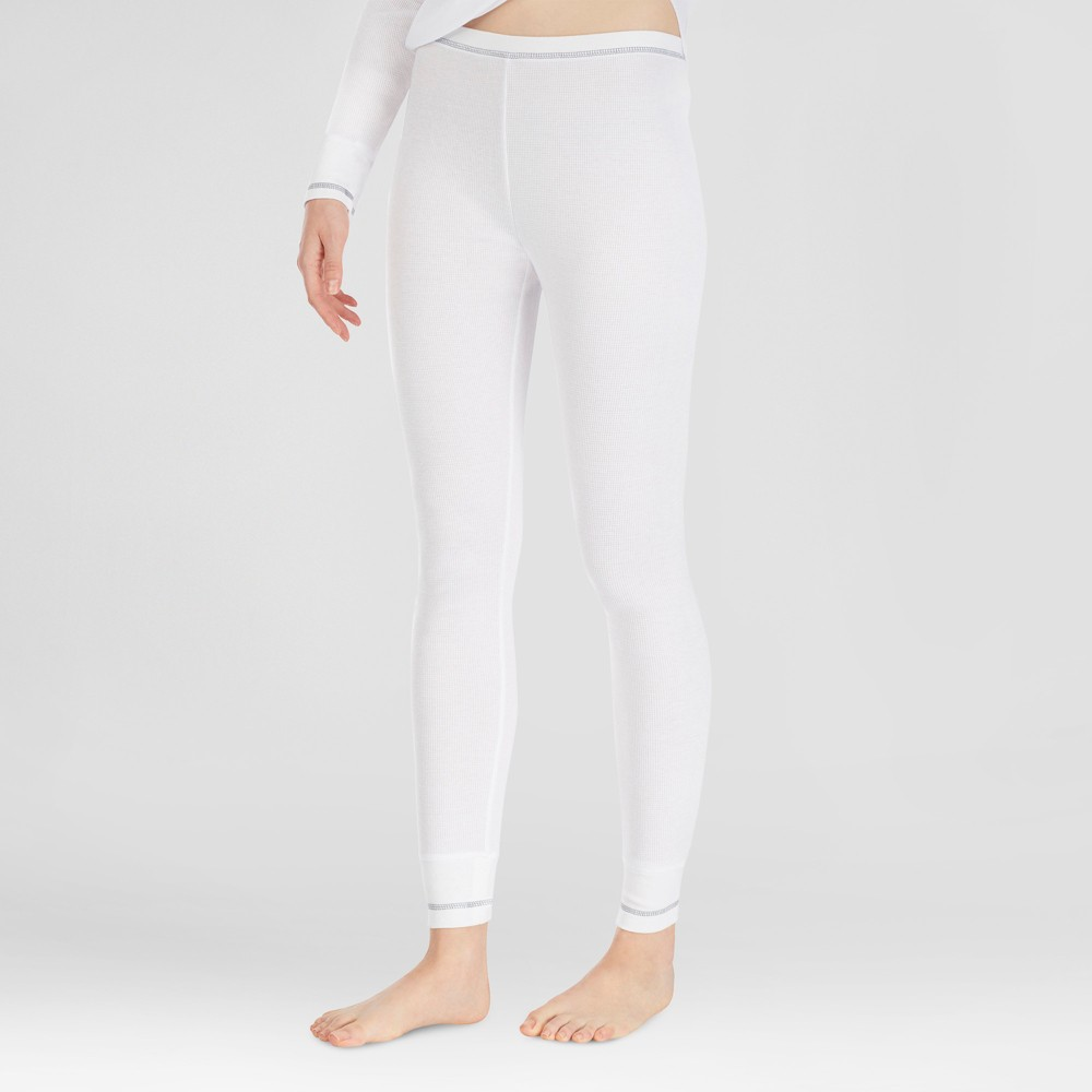 Warm Essentials by Cuddl Duds Womens Everyday Waffle Thermal Pants - White L