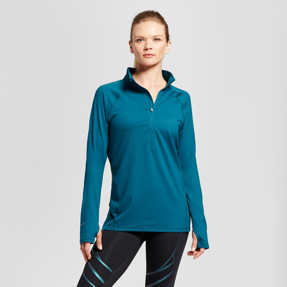 Womens Run 1/2 Zip Pullover - C9 Champion - Jeweled Jade L