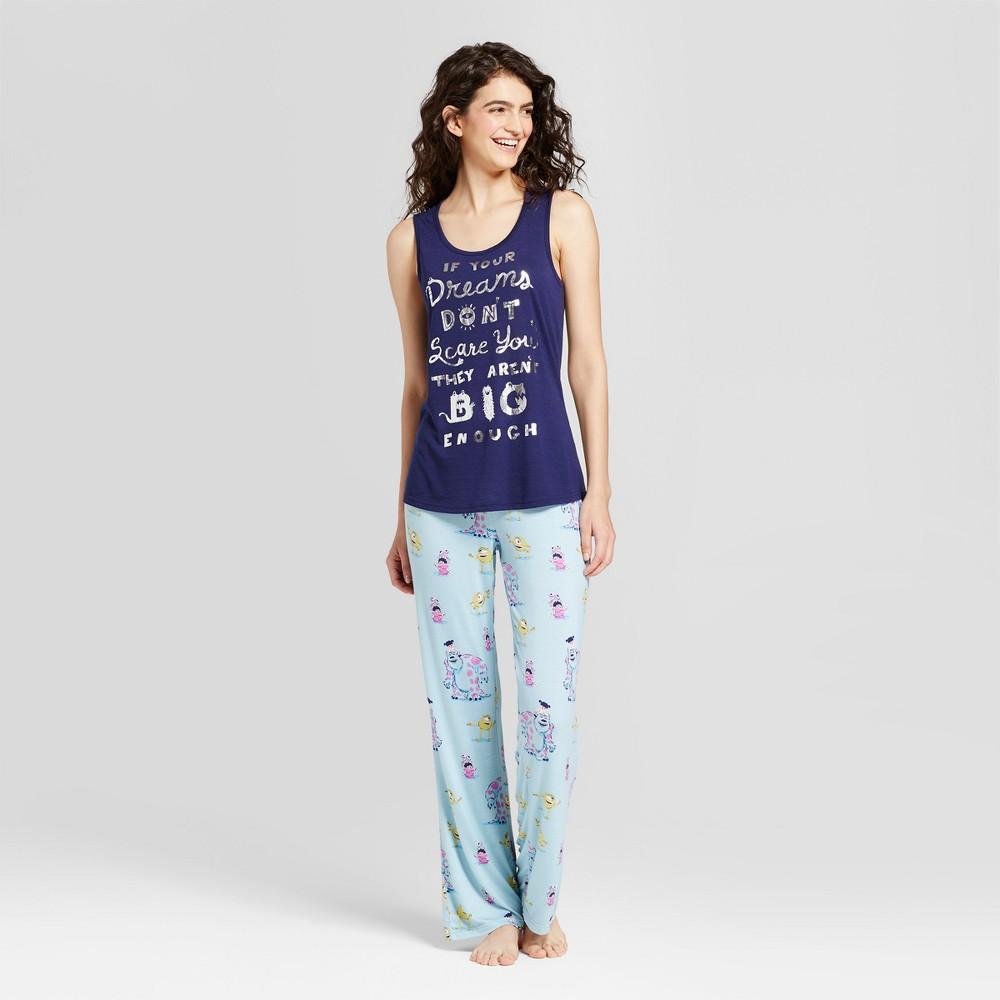 Disney Womens Monsters, Inc. Pajama Set - Navy L, Blue