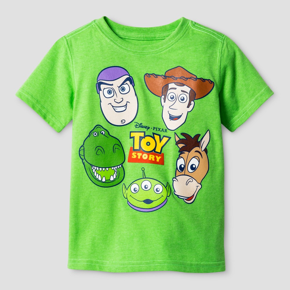 Toddler Boys Toy Story Group Faces T-Shirt - Green 2T