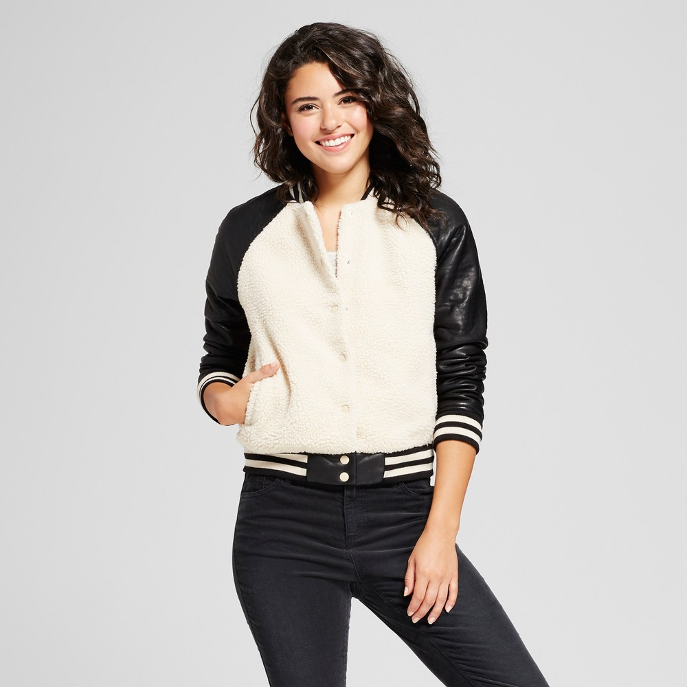 Womens Sherpa Bomber with Faux Leather Sleeves - Xhilaration Cream S, Beige