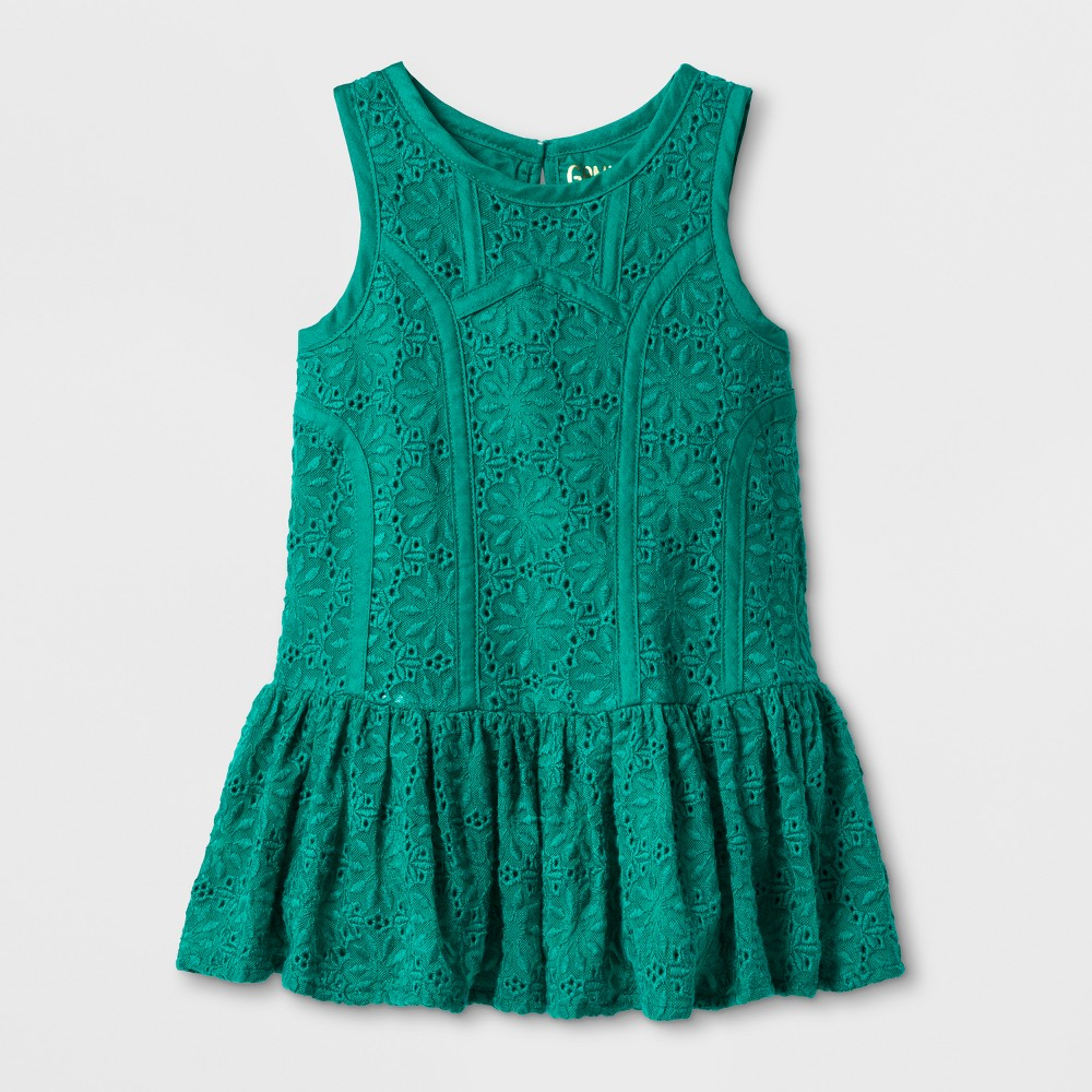 Toddler Girls Dropwaist Lace Dress - Genuine Kids from OshKosh Jade Green 4T, Blue