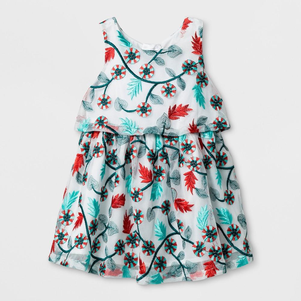 Toddler Girls Embroidered Mesh Dress - Genuine Kids from OshKosh Almond Cream 5T, White