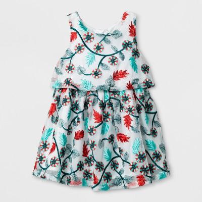 Toddler Girls' Embroidered Mesh Dress - Genuine Kids™ from OshKosh® Almond Cream 12M