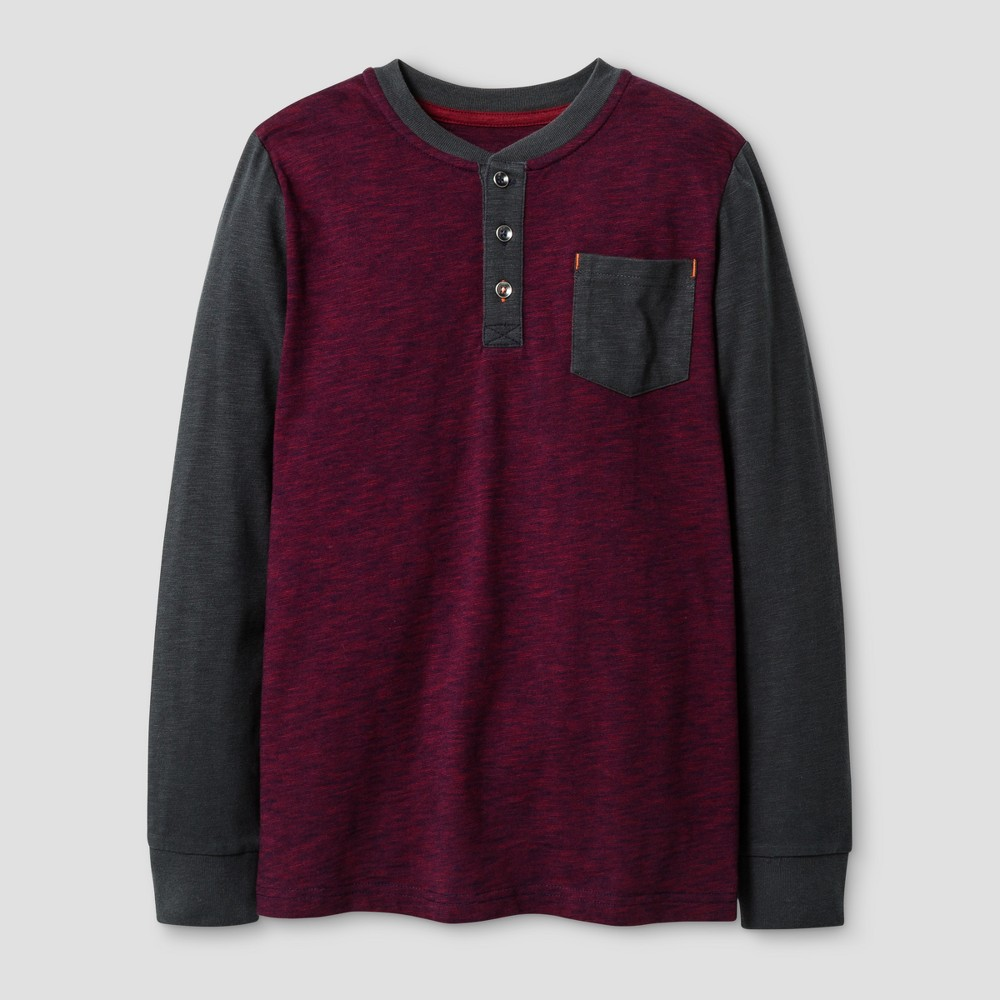 Boys Long Sleeve Henley Shirt - Cat & Jack Red L, Red Ribbon