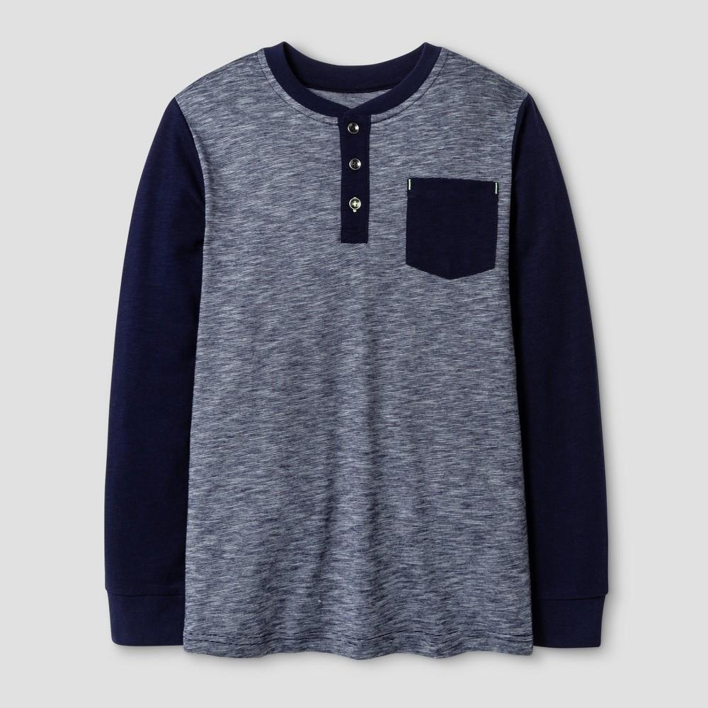 Boys Long Sleeve Henley Shirt - Cat & Jack Blue M, Stately Blue
