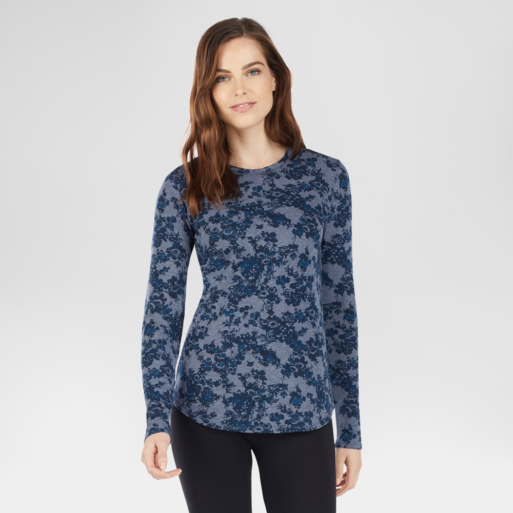 Warm Essentials by Cuddl Duds Womens Everyday Comfort Scoop Neck Thermal Top - Ink Floral L