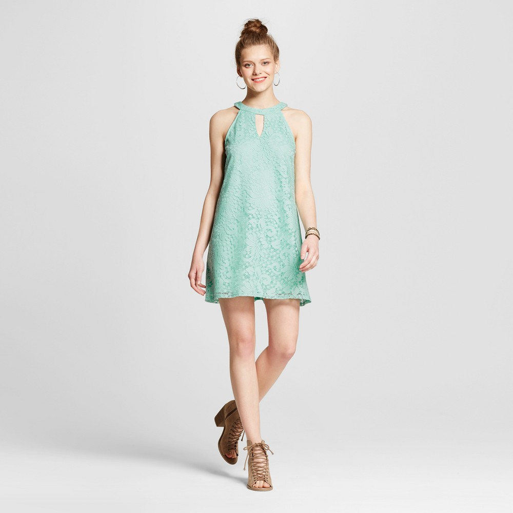 Womens Lace High Neck Keyhole Shift Dress - Lots Of Love By Speechless (Juniors) Green M
