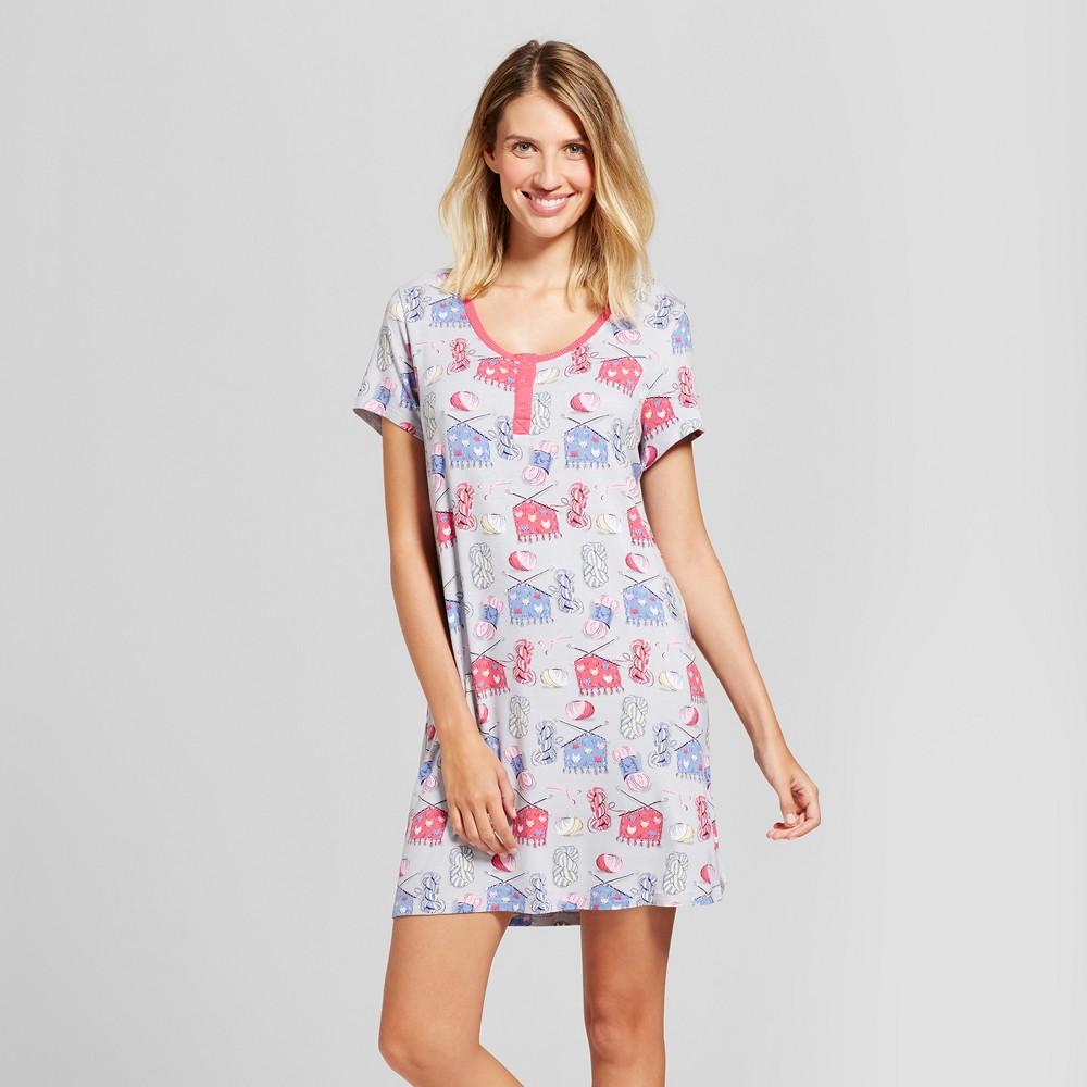 Nite Nite Munki Munki Womens Short Sleeve Jersey Nightshirt - Sewing - Gray M (Juniors)