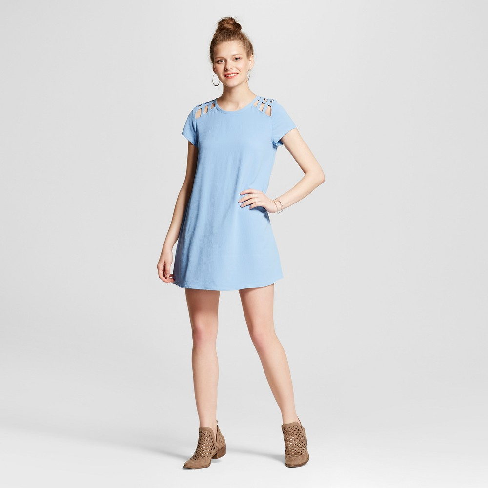 Womens Cut Out Short Sleeve Shift Dress - Lots Of Love By Speechless (Juniors) Blue L
