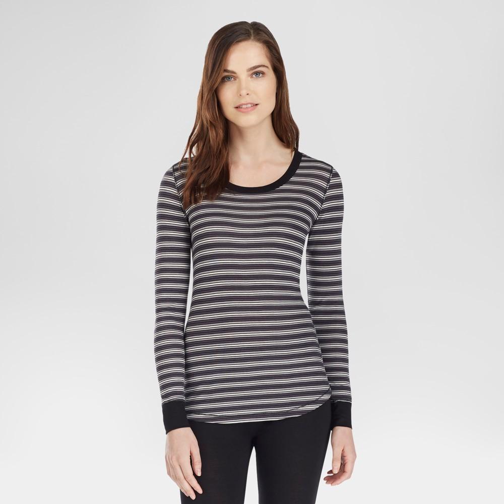 Warm Essentials by Cuddl Duds Womens Smooth Stretch Scoop Neck Top - Black Stripe L