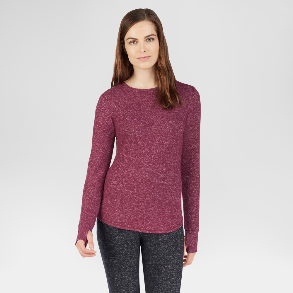 Warm Essentials by Cuddl Duds Womens Sweater Knit Crew Neck Thermal Top - Marled Grape S