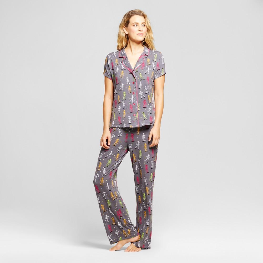 Nite Nite Munki Munki Womens Skeleton Dance Pajama Set - Gray Xxl