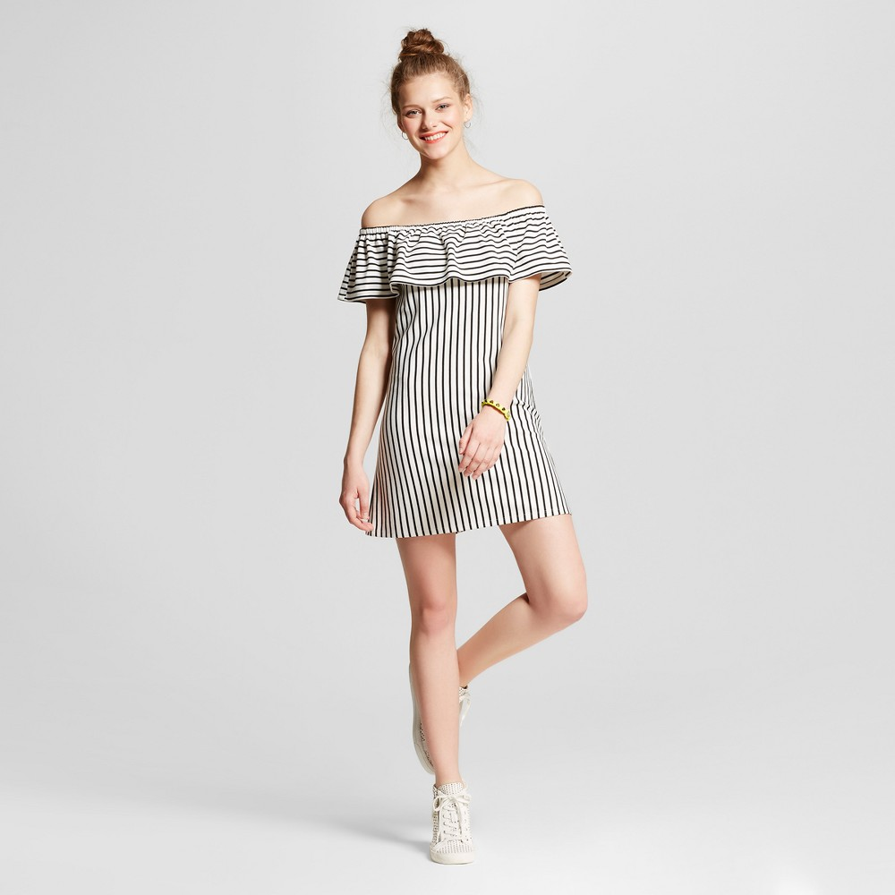 Womens Stripe Knit Off the Shoulder Dress - Lots Of Love By Speechless (Juniors) Ivory M, Black White