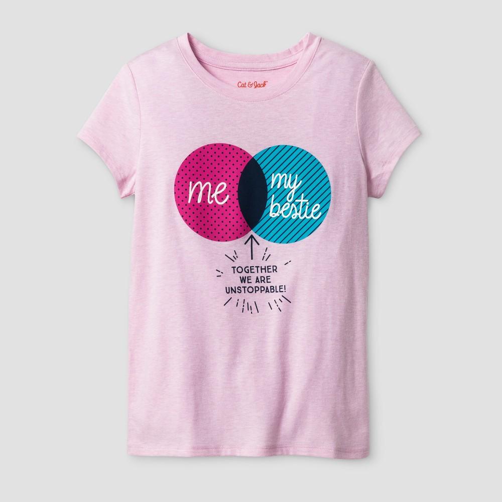 Girls Short Sleeve Friends Graphic T-Shirt - Cat & Jack Light Pink XL