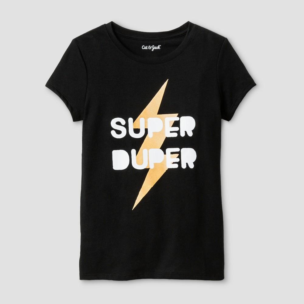 Girls Short Sleeve Super Duper Graphic T-Shirt - Cat & Jack Black M