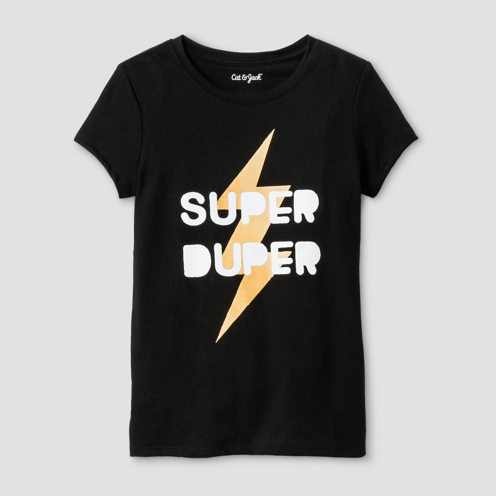 Girls Short Sleeve Super Duper Graphic T-Shirt - Cat & Jack Black L