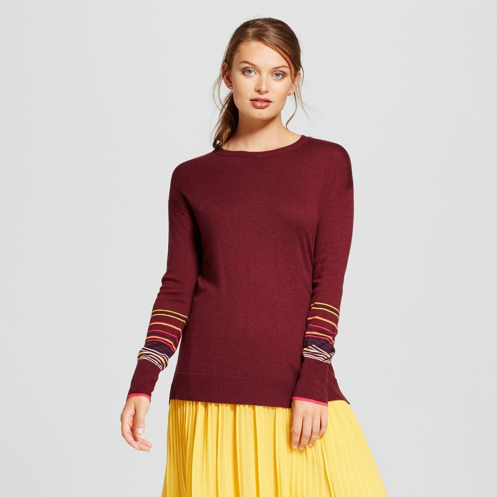 Womens Striped Cuff Sweater - A New Day Burgundy L, Red
