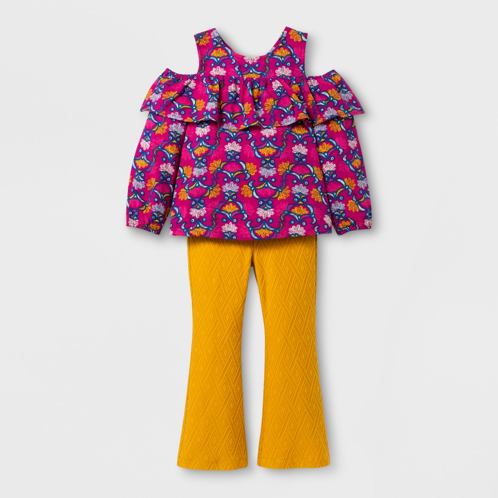 Toddler Girls Print Top And Flare Pants - Genuine Kids from OshKosh Autumn Yellow 4T
