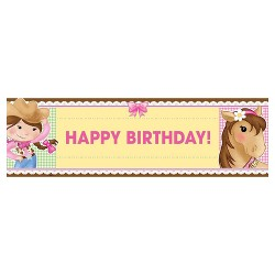 Pink Cowgirl Birthday Party Banner