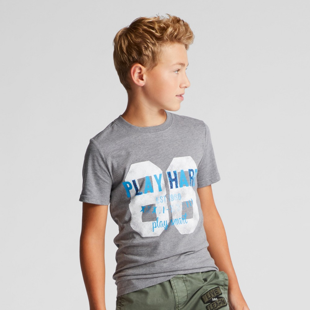 Boys Play Hard 86 Graphic Short Sleeve T-Shirt - Cat & Jack Heather Gray L