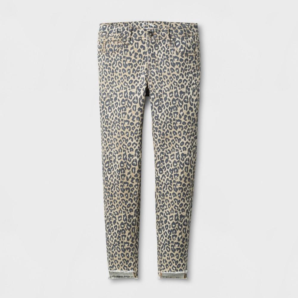 Girls Animal Print Denim Skinny Jeans - Art Class Khaki 14 Slim, Beige