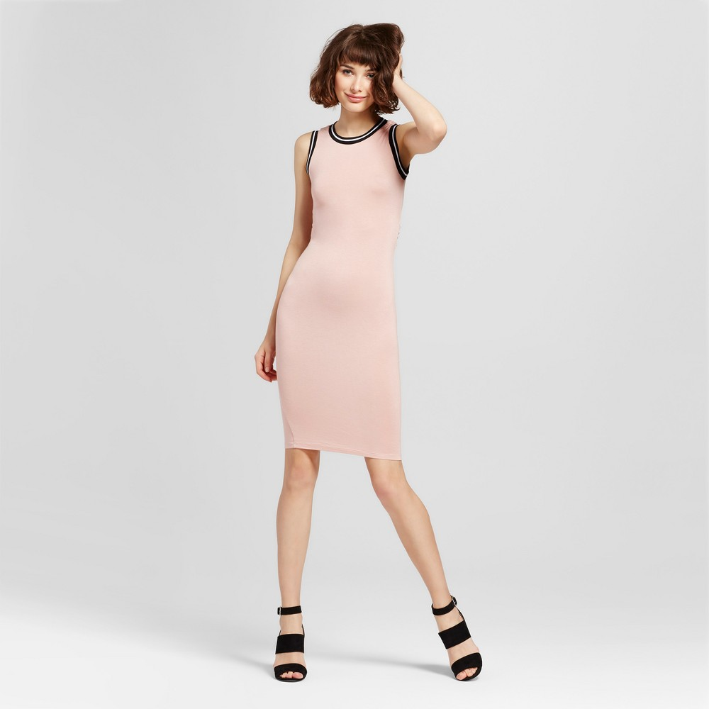 Womens Striped Trim Open Back Sleeveless Dress - Almost Famous (Juniors) Pink M