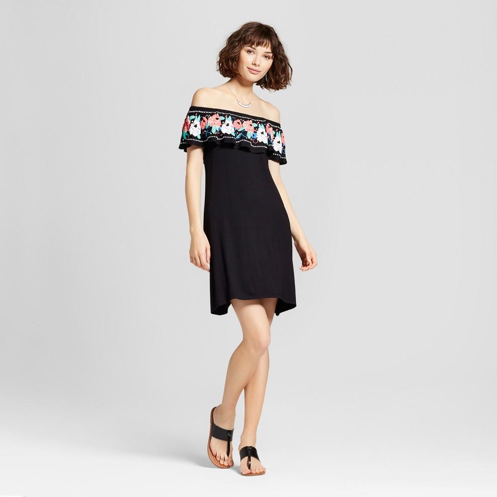 Womens Puff Print Flounce Off the Shoulder Dress - Almost Famous (Juniors) Black L