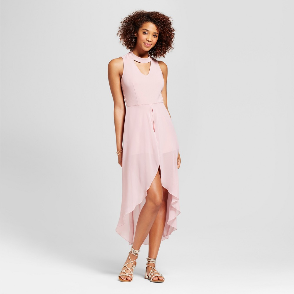 Womens High Neck Cut Out Romper Maxi Walk Thru - Almost Famous (Juniors) Pink XL