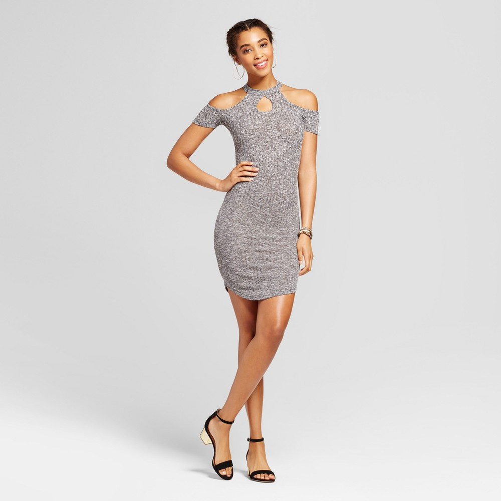 Women's Cold Shoulder Mock Neck Keyhole Ribbed Dress - Almost Famous (Juniors') Gray M