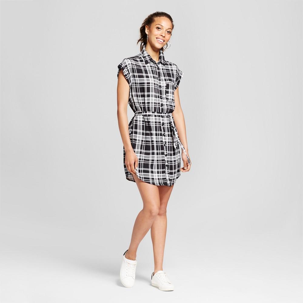 Womens Plaid Tie-Waist Button-Up Shirt Dress - Almost Famous (Juniors) Black L
