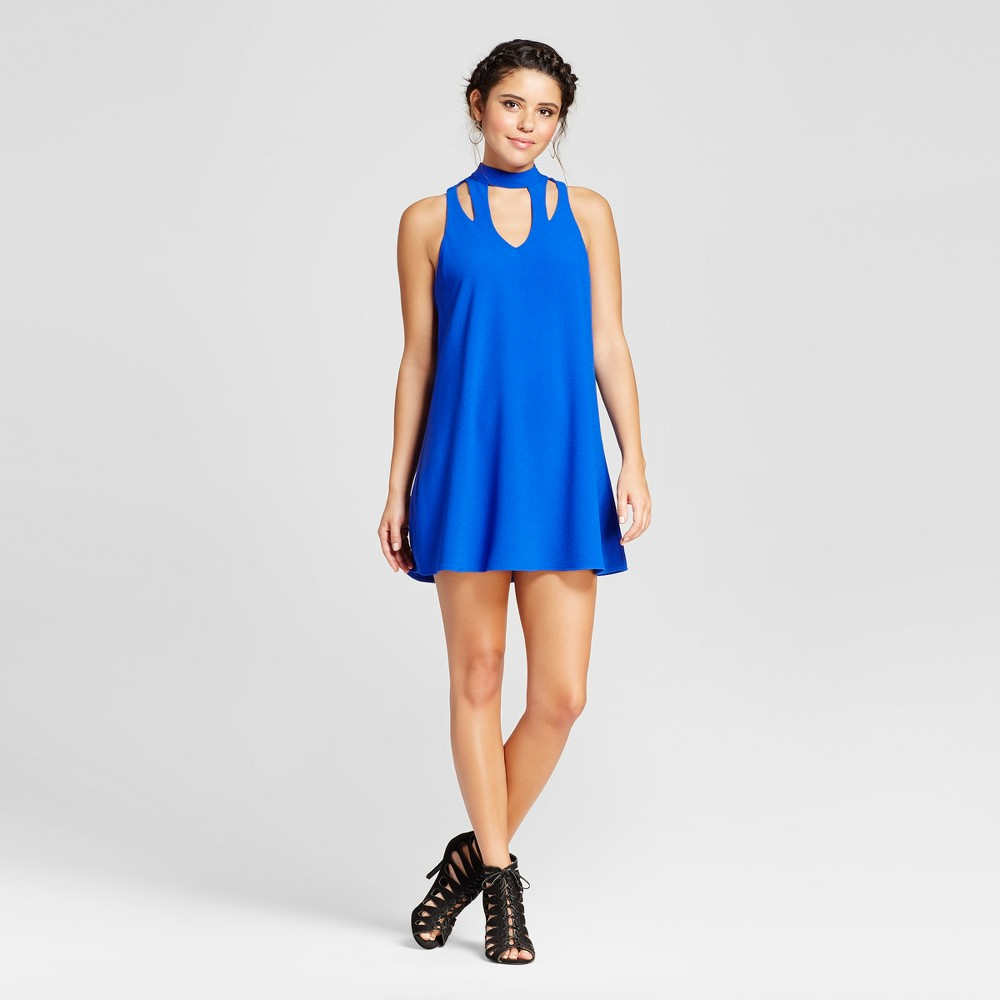 Womens Mock Neck Cut Out Dress - Lots Of Love By Speechless (Juniors) Blue S