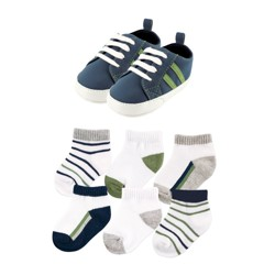 Yoga Sprout Baby 7 Piece Shoes & Socks Gift Set - Olive/Navy