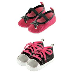 Luvable Friends Baby Girls' Sparkly Mary Jane Shoes Set - Black/Pink