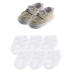 Luvable Friends Baby Boys' Slip On Shoes & Socks Gift Set - Khaki