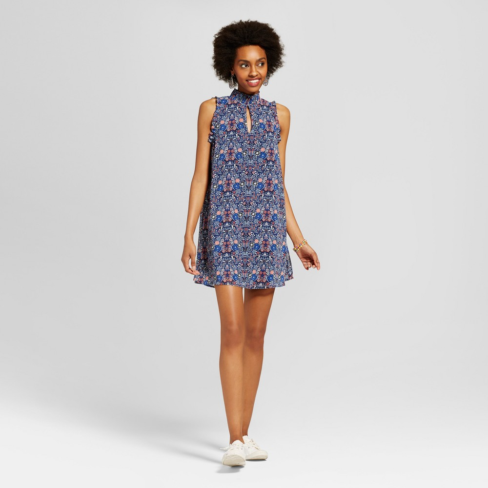 Womens Floral Mock Neck Cut Out Dress - Lots Of Love By Speechless (Juniors) Navy XS, Blue Pink