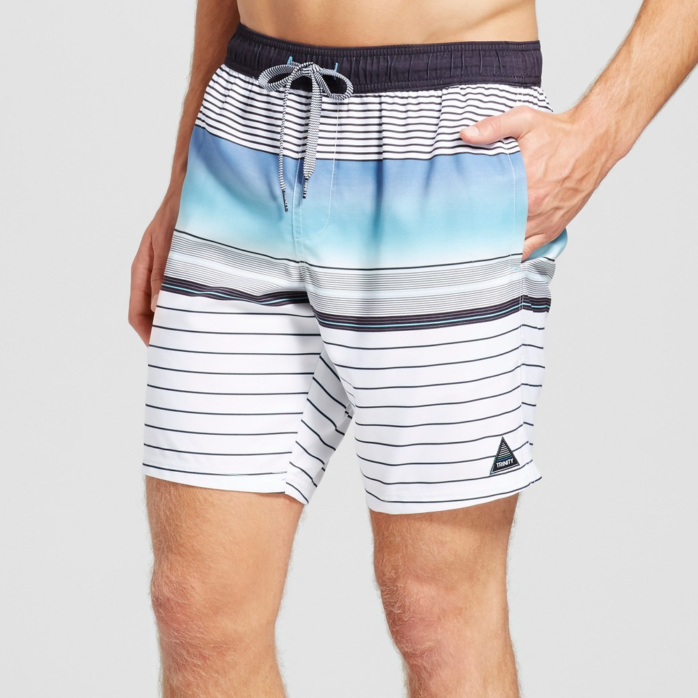 Mens Stripe Swim Trunks - Trintiy Collective Blue S