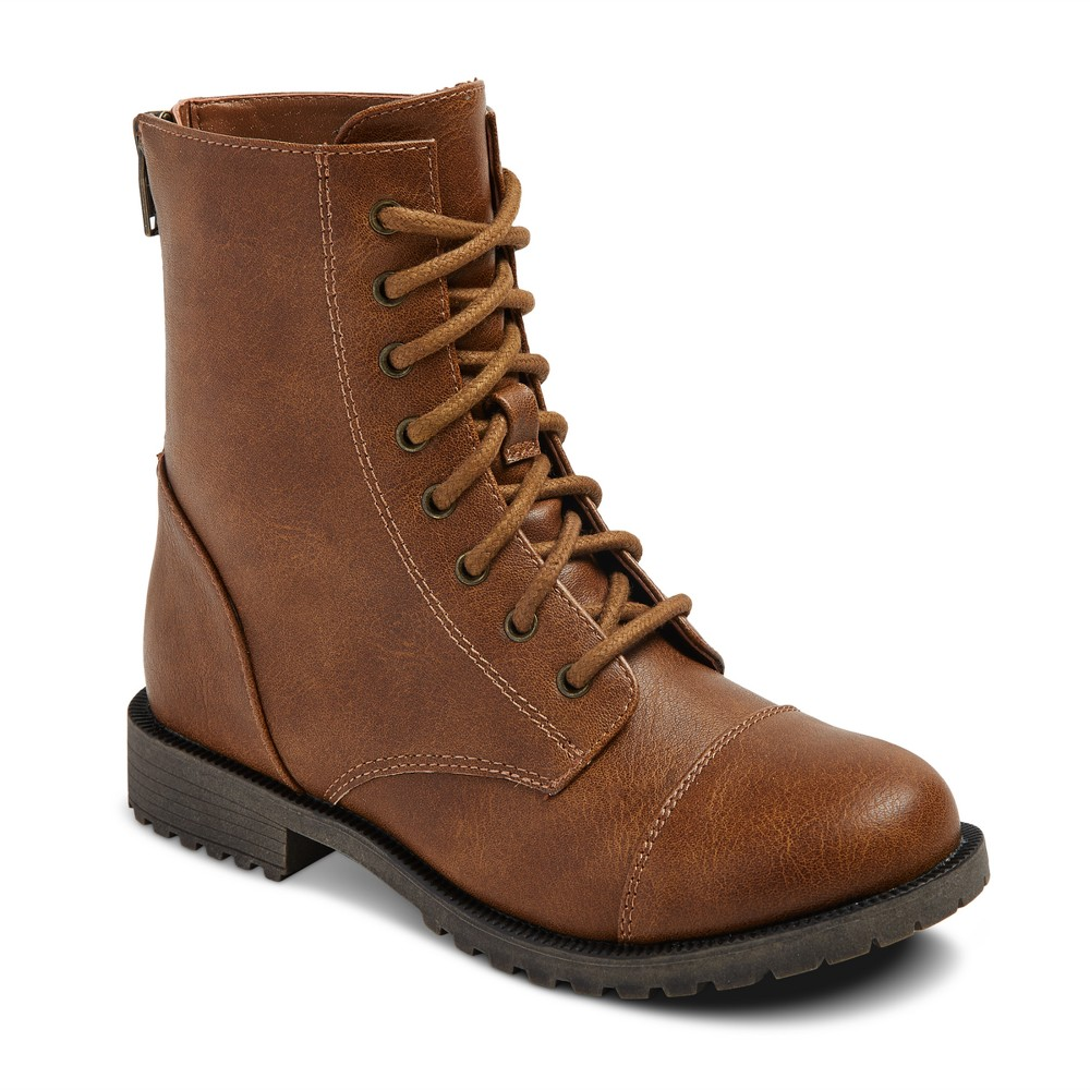 Girls Hampton Laceup Combat Boots Cat & Jack - Cognac 4, Brown