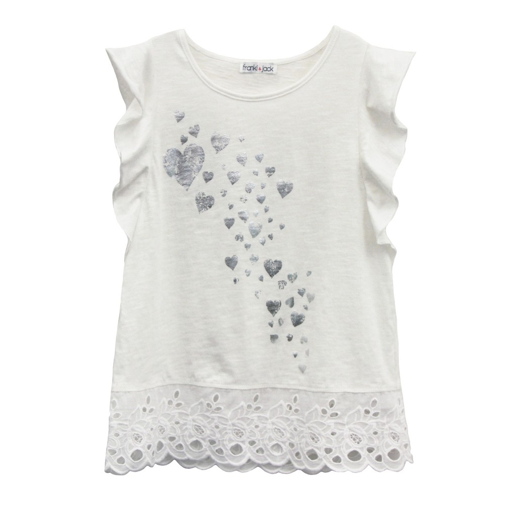 Girls Franki & Jack Flutter Sleeve Eyelet Hem Top - White S (6-6X)